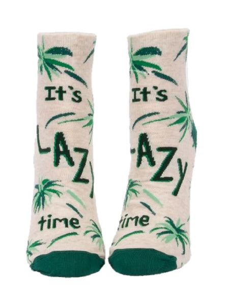 It's Lazy Time Women's Ankle Socks, Hipster/Nerdy/Geeky/Trendy, Funny Novelty Socks with Cool Design, Bold/Crazy/Unique Half Dress Socks
