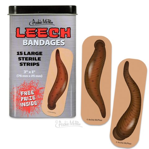Leech Bandages | Hilarious Latex-Free Leeches Adhesive Bandages in a Decorative Tin