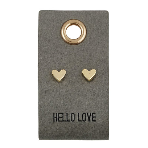 Hello Love Leather Tag Heart Stud Earrings