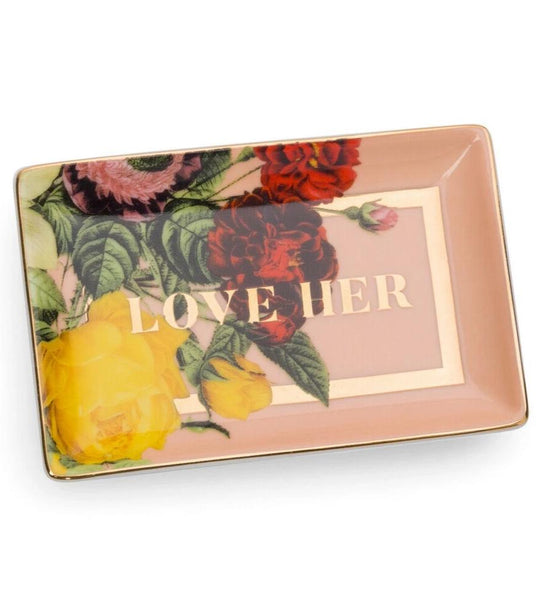 Love Her Porcelain Trinket Tray in Floral
