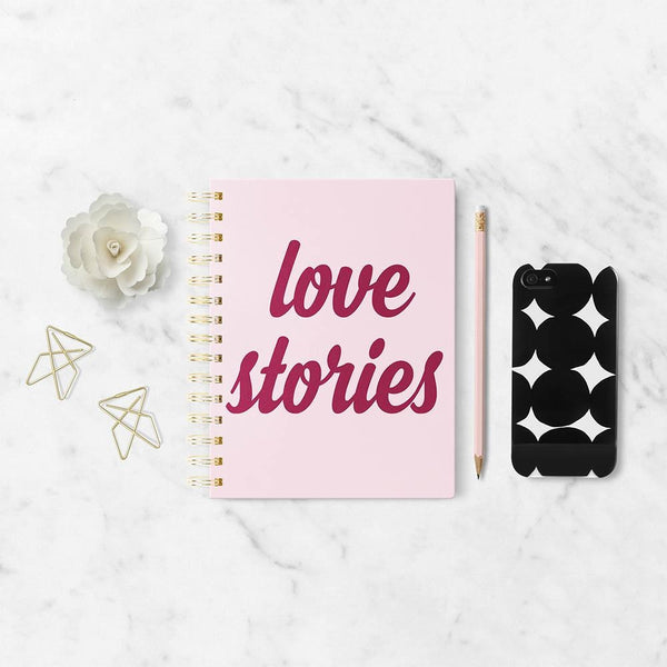 Love Stories Spiral Journal in Pastel Pink with Velvety Accents