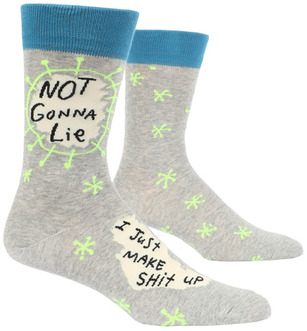 Not Gonna Lie, I Just Make Shit Up Men's Crew Socks, Hipster/Nerdy/Geeky/Trendy, Funny Novelty Socks with Cool Design, Bold/Crazy/Unique Quirky Dress Socks
