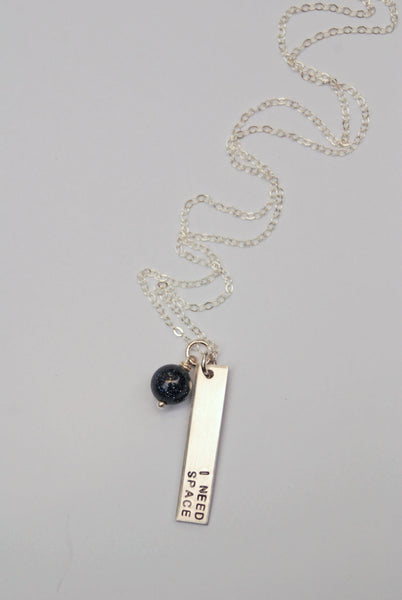 The Betty Collection: I Need Space Hand-Stamped Necklace (Gold or Silver) With Deep Blue Glittery Galaxy Bead