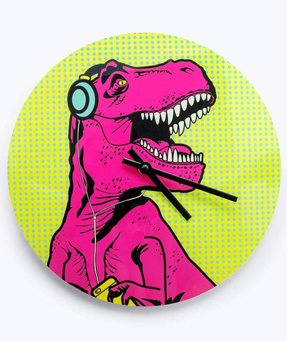 T-Rex Pop-Art Clock in Multicolor