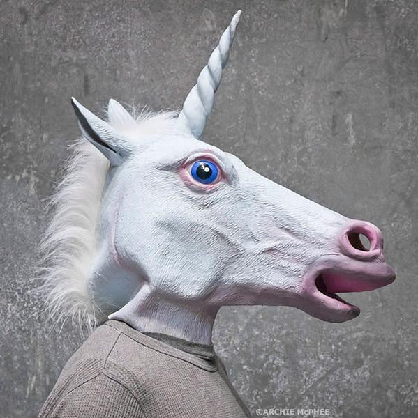 Magical Unicorn Mask in White | Latex Unicorn Head with Horn