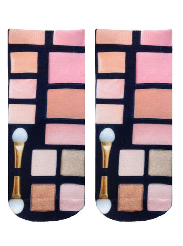 Glam Makeup Pallette Ankle Socks in Pink and Black