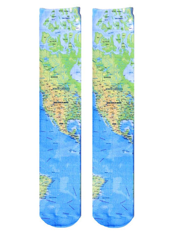 Geography Champ Map Knee High Socks in Green, Yellow and Blue