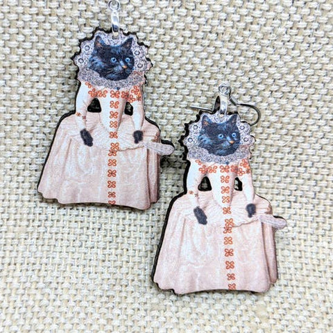 Marie Antoinette Wooden Cat Earrings | Handmade and Lightweight