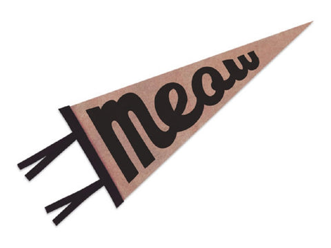 Meow Pennant in Dark Pink with Black Lettering