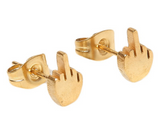 Middle Finger Earrings in Gold