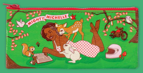 Mighty Michelle Pencil Case in Green and Pink