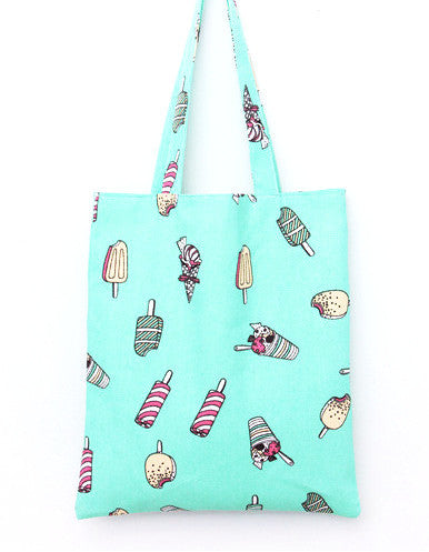 Mint Green Popsicle Canvas Tote Bag