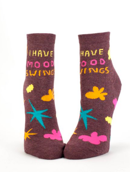 I Have Mood Swings Women's Ankle Socks, Hipster/Nerdy/Geeky/Trendy, Colorful Funny Novelty Socks with Cool Design, Bold/Crazy/Unique Half Dress Socks