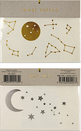 Moon and Stars Temporary Tattoo in Gold and Silver