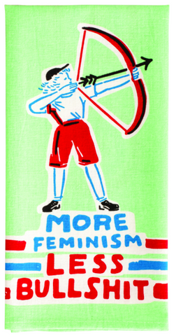 More Feminism Less Bullshit Screen-Printed Multicolored Blue Dish Cloth Towel / Novelty Sweary Tea Towels / Cute Hilarious Unique Kitchen Hand Towel