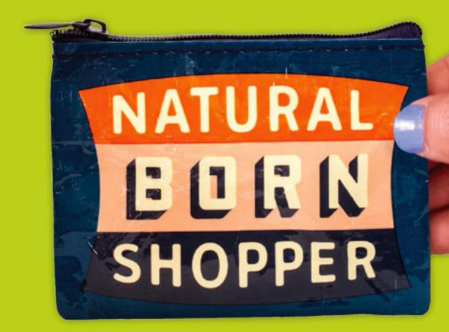 Natural Born Shopper Coin Purse in Navy