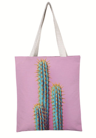 Neon Spiky Cactus Canvas Tote Bag