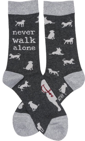 Never Walk Alone / Dog with Leash Funny Novelty Socks with Cool Design, Bold/Crazy/Unique Specialty Dress Socks