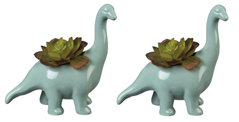 Brontosaurus Ceramic Dinosaur Planter | Pack of 2