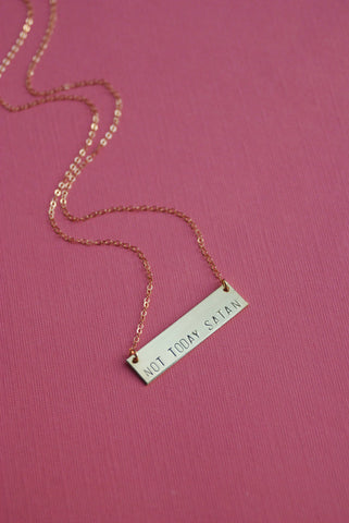 The Betty Collection: Not Today Satan Necklace in Brass or Silver