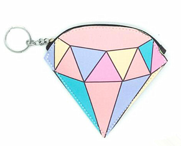 Colorful Faceted Diamond Keyring Coin Purse