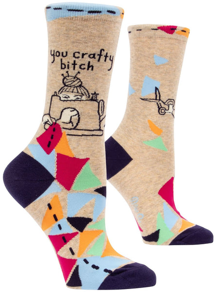 You Crafty Bitch Women's Quirky Crew Socks Colorful Hipster/Nerdy/Geeky/Trendy, Funny Novelty Socks with Cool Design, Bold/Crazy/Unique Pattern Dress Socks