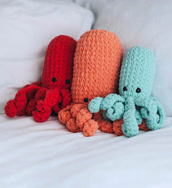 Squishy Handmade Crochet Octopus in Peach, Coral or Aqua