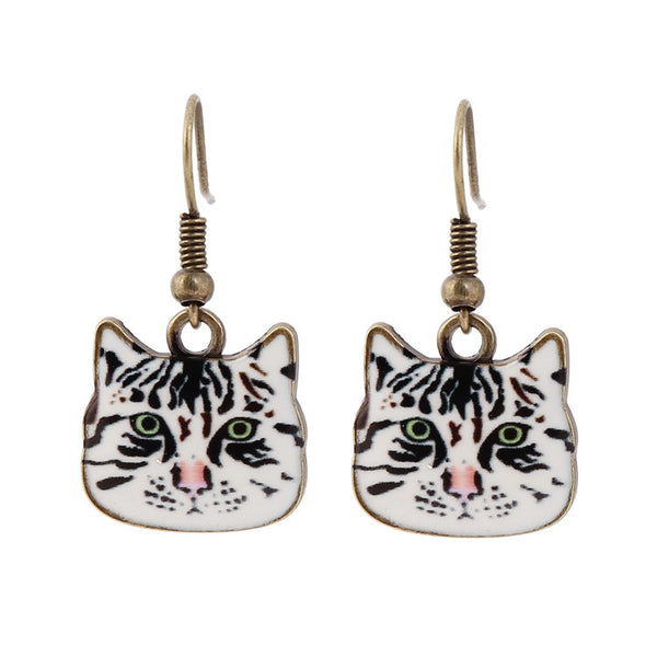 Oh Yeah Cat Face Dangle Earrings
