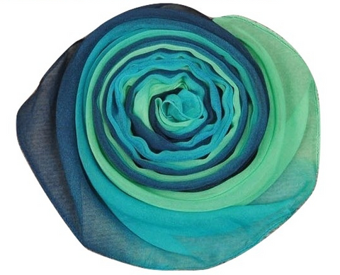 Diaphanous Ombre Scarf in Blues and Greens