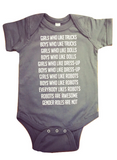Robot Gender Roles Feminist Baby Bodysuit in Gray