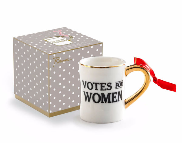 Votes for Women Suffragette Ornament in Black and White Porcelain