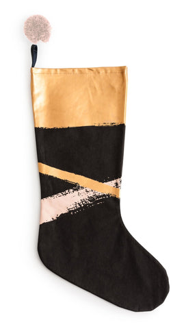 Anything Goes Metallic Brush Stroke Stocking in Black, Rose Gold, and Gold Foil