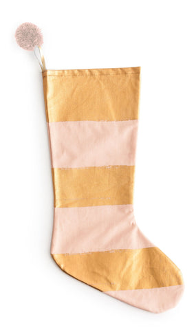 Anything Goes Stocking in Pink & Metallic Gold Stripe