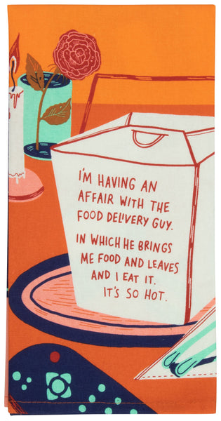 Having An Affair With The Food Delivery Guy Screen-Printed Funny Snarky Multicolored Dish Cloth Towel / Novelty Silly Tea Towels / Cute Hilarious Kitchen Hand Towel