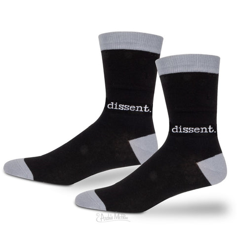 Dissent Women's Crew Socks in Black and Gray