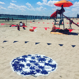 Palm Tree Round Beach Mat in Royal Blue and White