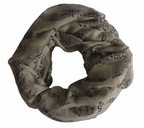 Keeping Score Music Note Infinity Scarf in Parchment or Deep Blue