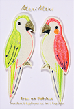 Parrots Iron on Patches in Bright Pink and Neon Green