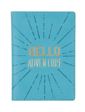Hello Adventure Passport Case in Turquoise and Gold