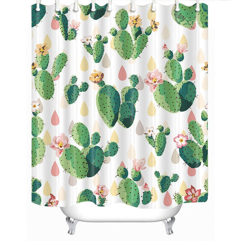 Cacti And Raindrops Fabric Shower Curtain In Pastel Green