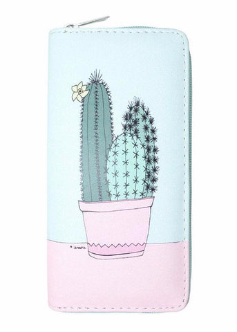 Pastel Cactus Women's Zipper Wallet