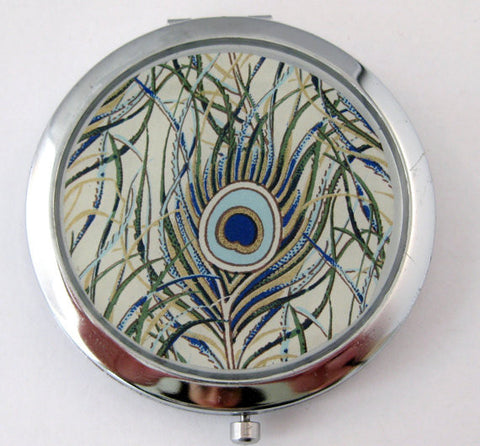 Peacock Feathers Compact Mirror in Blue, Green and Silver