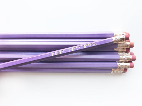 Petty, Petty Bitch Pencil Set in Lilac | Set of 5 Funny Sweary Profanity Pencils