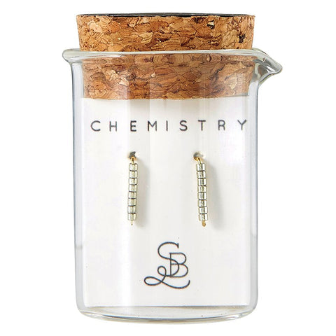 Gold Plated Pewter Chemistry Earrings | In a Glass Vial for Gift Giving