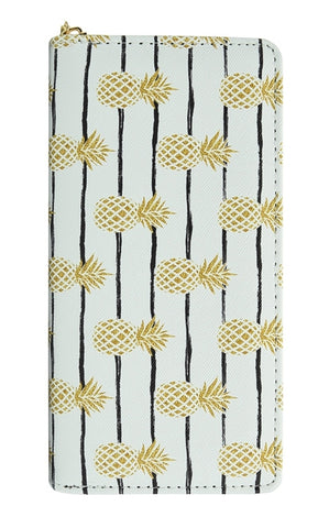 Pineapple Stripe Women's Zipper Wallet with Gold Accents