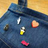 Blue Jeans Enamel Pin Display Tote | Denim Tote Bag Perfect to Display Pins or Patches