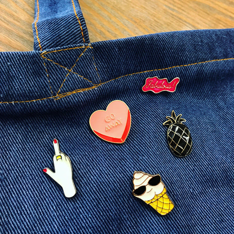 Enamel Pin Starter Pack with Blue Denim Jean Tote Bag