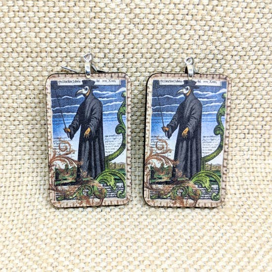 Plague Doctor Creepy Earrings | Handmade | Middle Ages Historical Art on Lightweight Wood Earrings