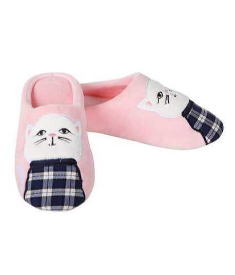 Plaid Cat Plush Slippers in Pink | Soft Spa Fuzzy Slippers | Fluffy House Shoes | Indoor Fur Lady Slippers