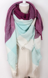 Triangular Scarf in Mint/Plum or Forest/Teal